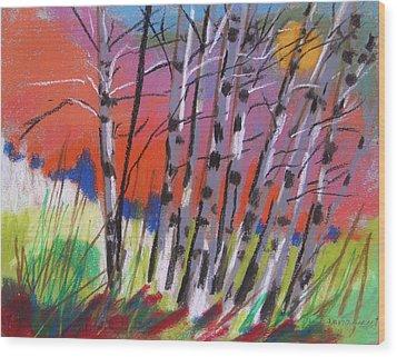 Sundown White Birches Wood Print by John Williams