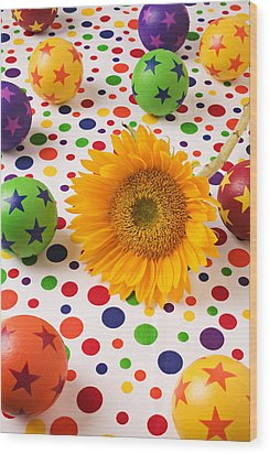 Sunflower And Colorful Balls Wood Print by Garry Gay