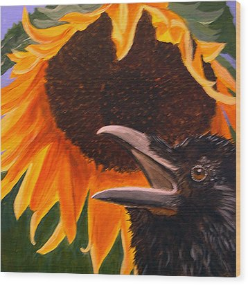 Sunflower Crow Wood Print by Kathleen A Johnson
