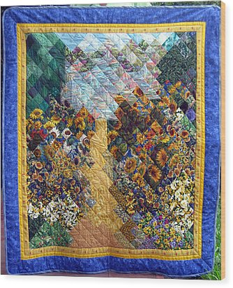 Sunflower Path Quilt Wood Print by Sarah Hornsby