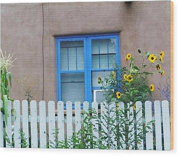 Sunflower Window  Wood Print by Vicki Lomay
