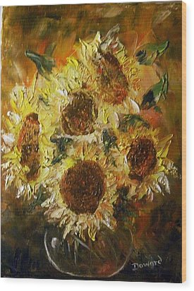 Sunflowers 2 Wood Print by Raymond Doward