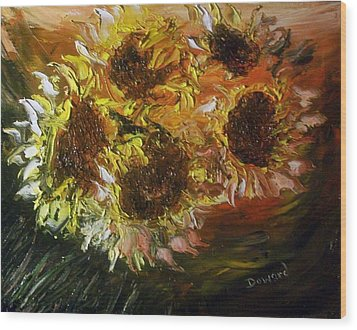 Wood Print featuring the painting Sunflowers 3 by Raymond Doward