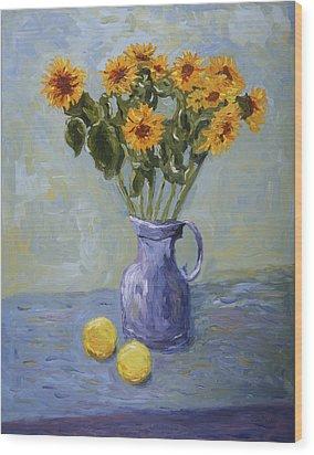 Sunflowers And Lemons Wood Print
