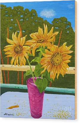 Sunflowers And Pines Wood Print by Maria Malevannaya