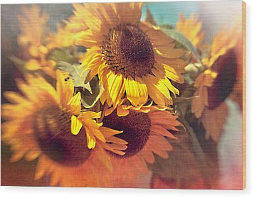 Sunflowers Wood Print by Boston Thek Imagery