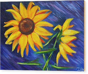 Sunflowers Wood Print by Diana Haronis