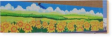 Sunflowers-exterior Mural Wood Print by Jennifer Little