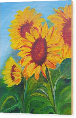 Sunflowers For California Lovers Wood Print by Dani Altieri Marinucci