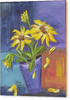 Sunflowers In A Blue Pot Wood Print