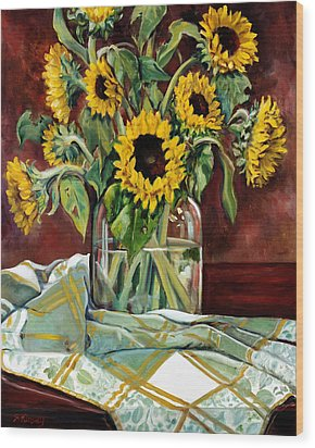Sunflowers In A Jar Wood Print by Sheila Kinsey