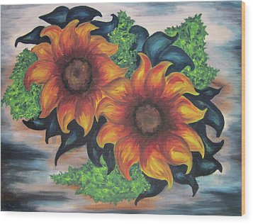 Wood Print featuring the painting Sunflowers In A Still Life by Cheryl Pettigrew