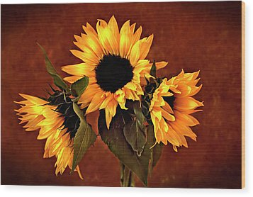 Sunflowers Wood Print by James Bethanis