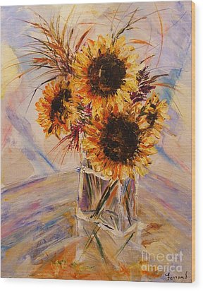 Wood Print featuring the painting Sunflowers by Karen  Ferrand Carroll