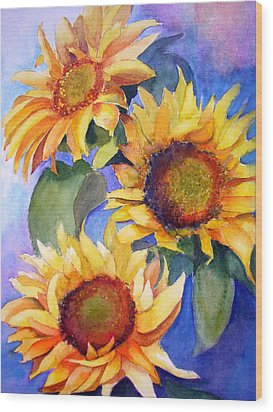 Sunflowers Wood Print by Lori Chase