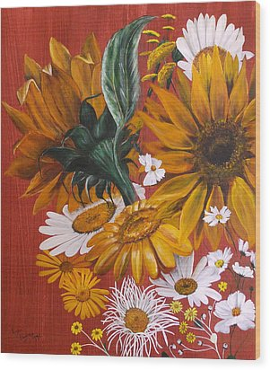 Wood Print featuring the painting Sunflowers by Lynn Hughes