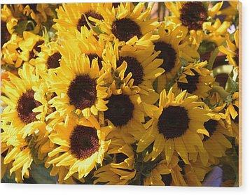 Sunflowers Wood Print by Paulette Thomas