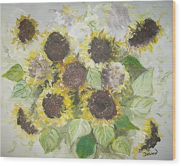 Sunflowers Profile Wood Print by Raymond Doward