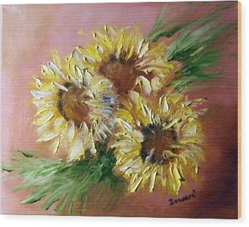 Wood Print featuring the painting Sunflowers by Raymond Doward