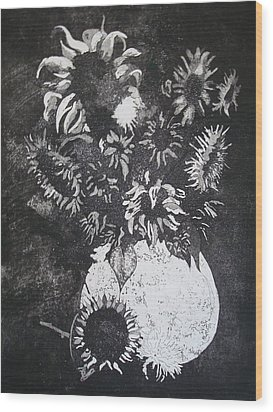 Sunflowers Wood Print by Sonja Guard
