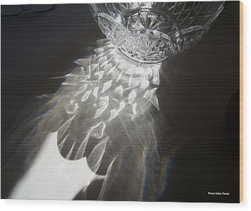 Sunlight On Crystal Bowl Wood Print by Suhas Tavkar