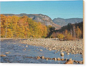 Sunlight On The Saco Wood Print by Geoffrey Bolte