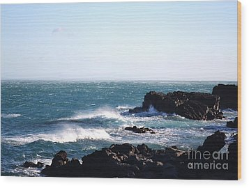 Wood Print featuring the photograph Sunny Day And Stormy Sea 4 by Kathleen Pio