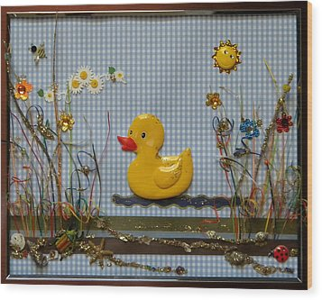 Sunny Duck Wood Print by Gracies Creations