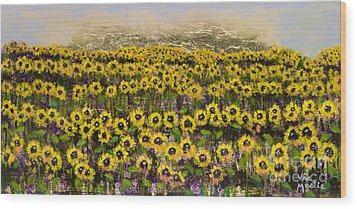 Sunny Field Series With Gold Leaf By Vic Mastis Wood Print by Vic  Mastis