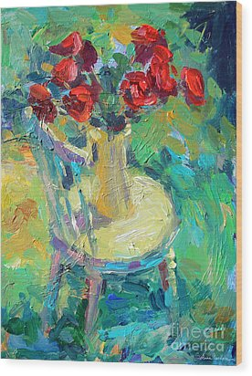 Sunny Impressionistic Rose Flowers Still Life Painting Wood Print by Svetlana Novikova