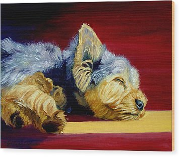 Sunny Patch Yorkshire Terrier Wood Print by Lyn Cook