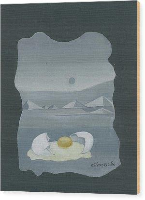Sunny Side Up Breakfast Yellow White Egg With Broken Shell In Surrealistic Desert Landscape Fantasy Wood Print by Rachel Hershkovitz