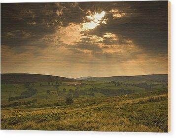 Sunrays Through Clouds, North Wood Print by John Short
