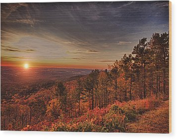 Sunrise 2-talimena Scenic Drive Arkansas Wood Print by Douglas Barnard