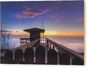 Sunrise Angel Wood Print by Debra and Dave Vanderlaan