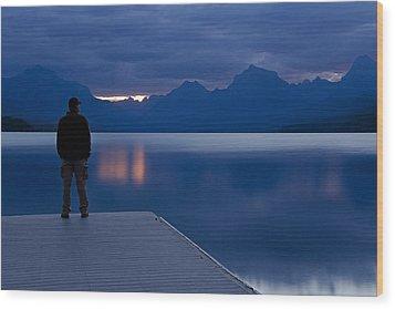 Sunrise At Apgar Wood Print