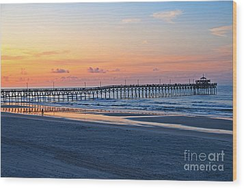 Sunrise At Cherry Grove Pier Wood Print