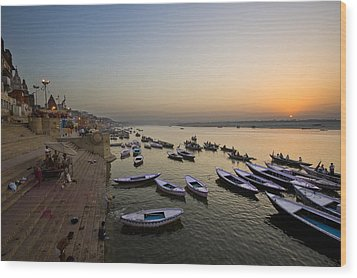Sunrise At Ganges River Wood Print