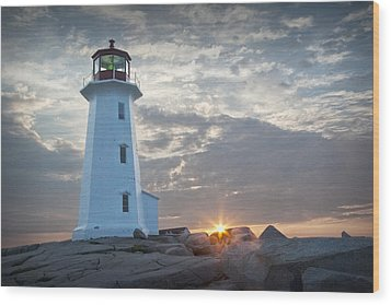 Sunrise At Peggys Cove Lighthouse In Nova Scotia Number 041 Wood Print by Randall Nyhof