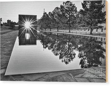 Sunrise At The Alfred P Murrah Memorial Wood Print by Tamyra Ayles