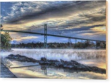Sunrise At The Bridge Wood Print by Sharon Batdorf
