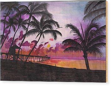 Sunrise At The Deerfield Beach Pier Wood Print