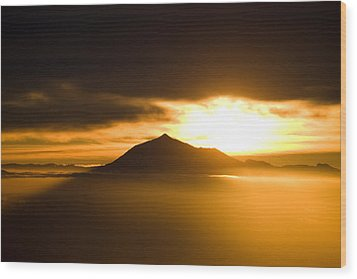 sunrise behind Mount Teide Wood Print by Ralf Kaiser