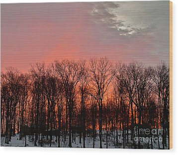 Wood Print featuring the photograph Sunrise Behind The Trees by Mark Dodd