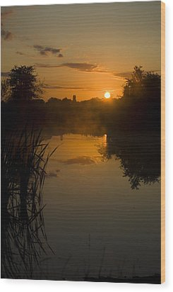 Sunrise By A Lake Wood Print by Pixie Copley