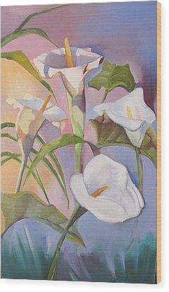 Sunrise Callas Wood Print