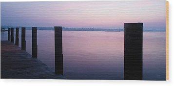 Sunrise Dock Wood Print