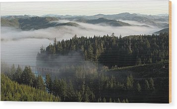 Wood Print featuring the photograph Sunrise Fog And Bridge by Katie Wing Vigil