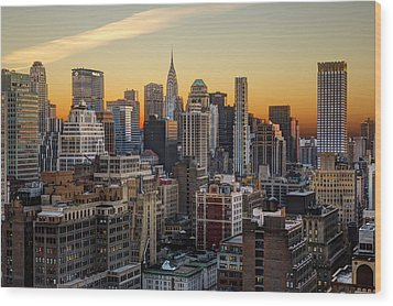 Sunrise In The City II Wood Print by Janet Fikar