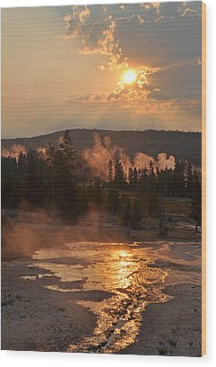Sunrise Near Yellowstone's Punch Bowl Spring Wood Print by Bruce Gourley
